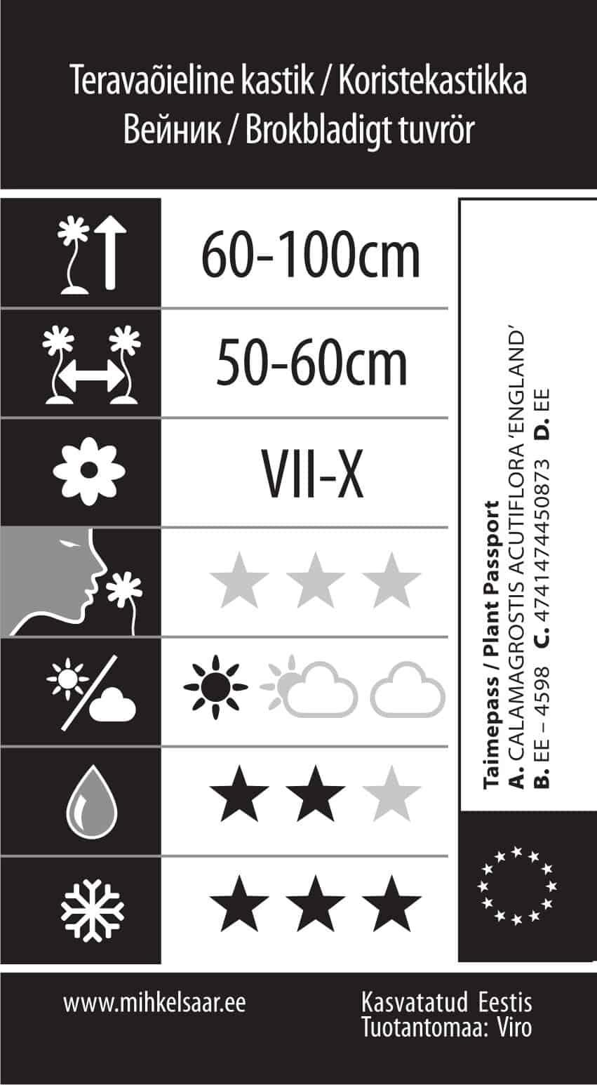 Etikett, Calamagrostis acutiflora