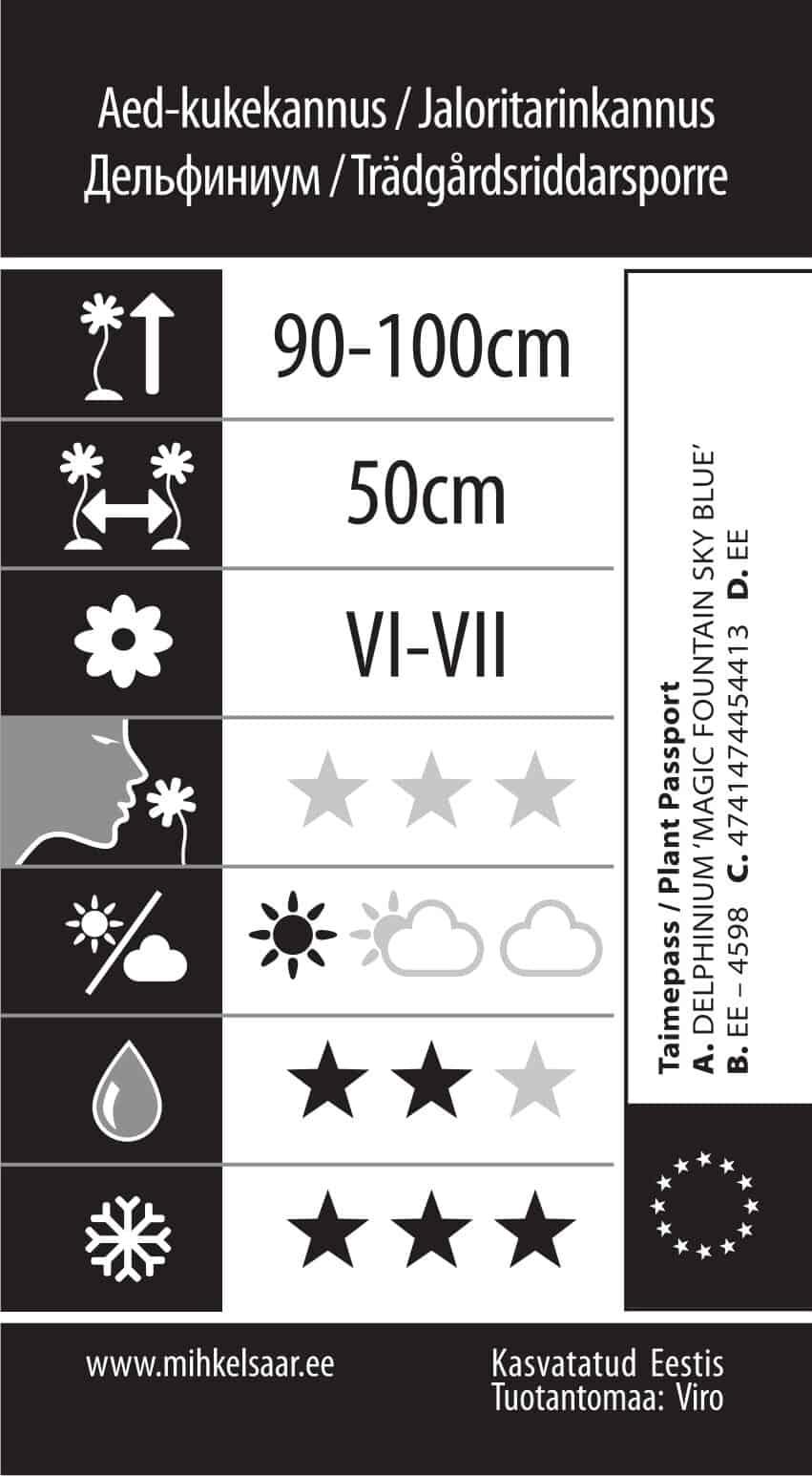 Etikett, Delphinium