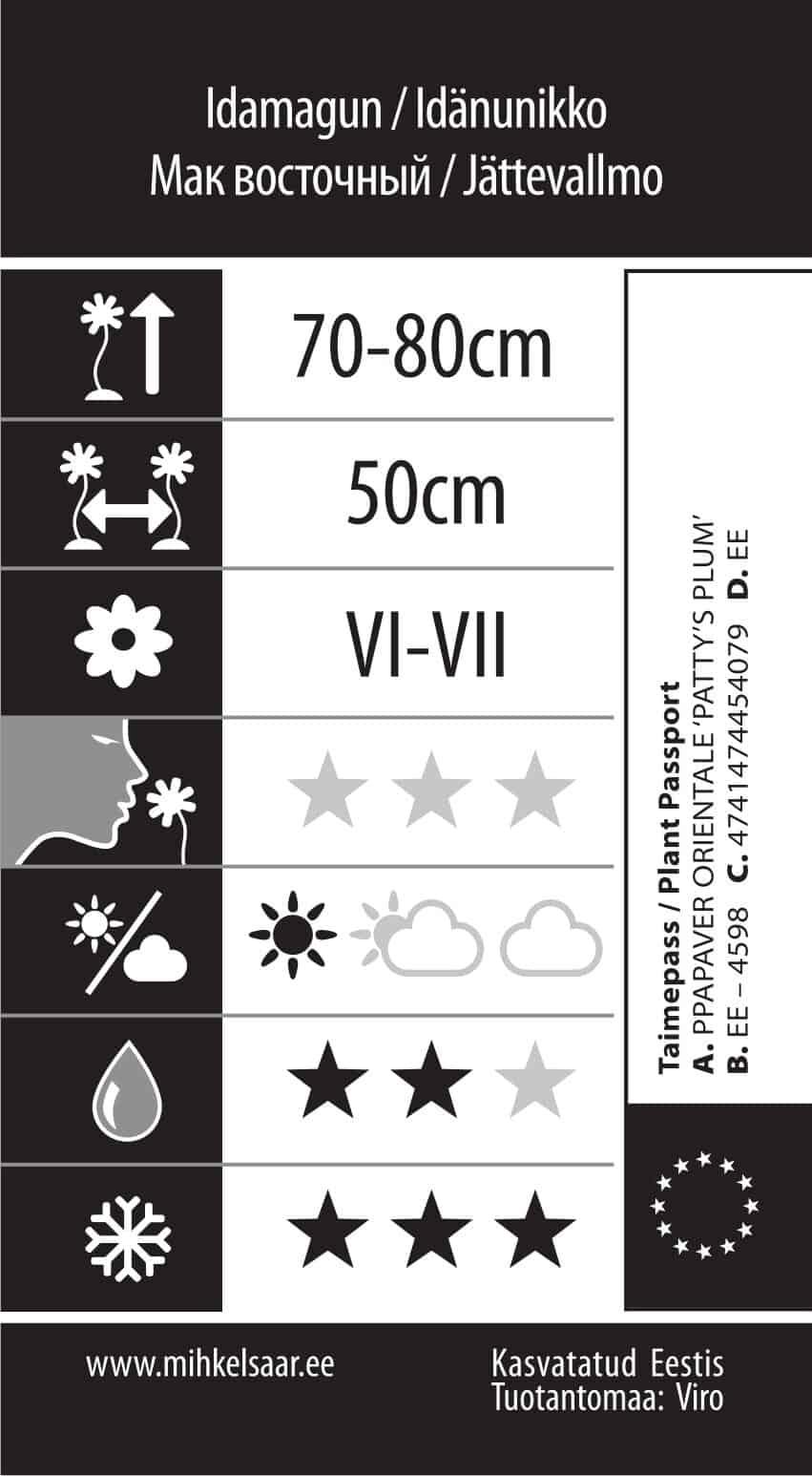 Etikett, Papaver orientale