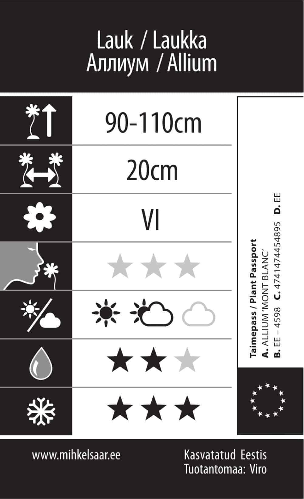 Etikett, Allium